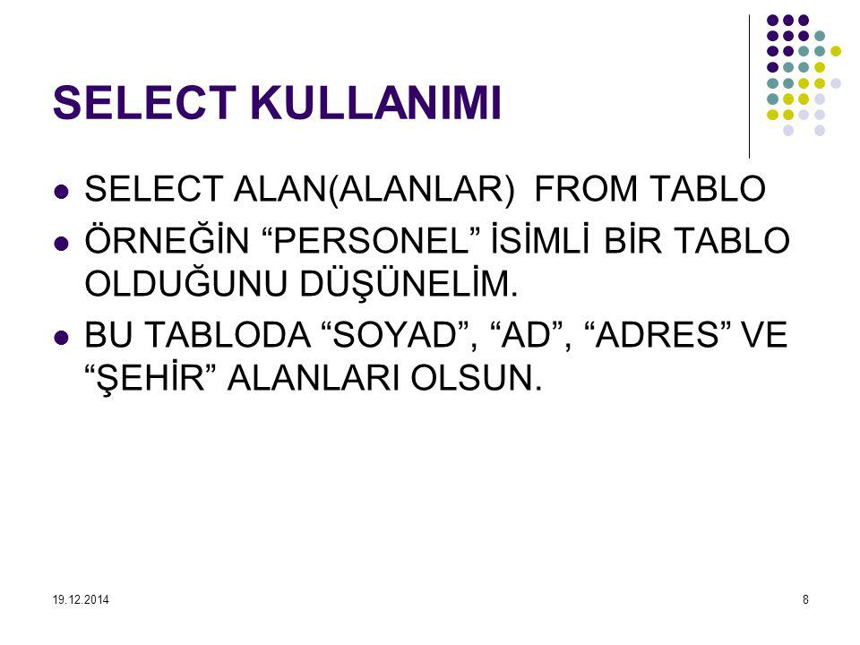 SELECT KULLANIMI SELECT ALAN(ALANLAR) FROM TABLO