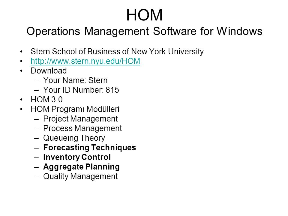 HOM Operations Management Software for Windows