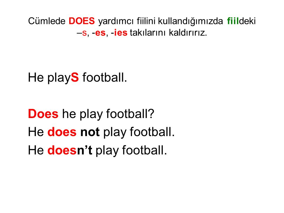 He does not play football. He doesn't play football.