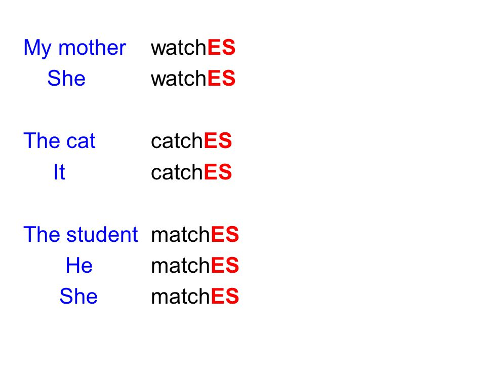My mother watchES She watchES. The cat catchES. It catchES. The student matchES. He matchES.