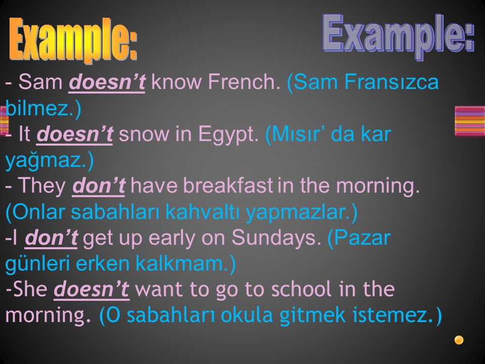 Example: Example: - Sam doesn't know French. (Sam Fransızca bilmez.)