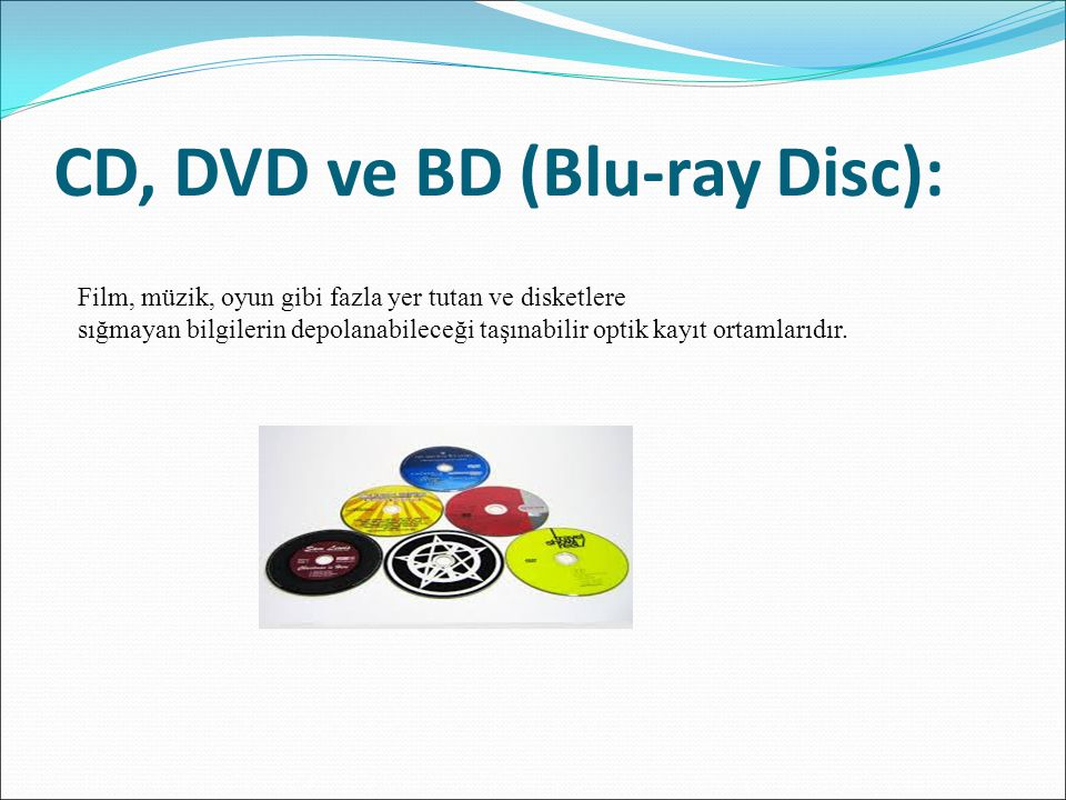 CD, DVD ve BD (Blu-ray Disc):