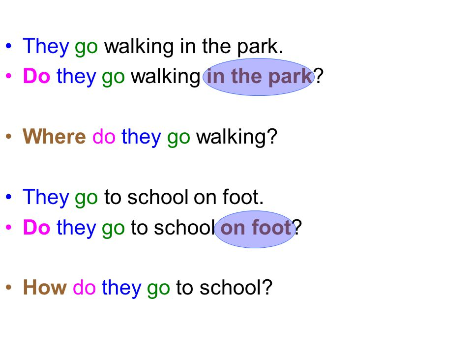 They go walking in the park.