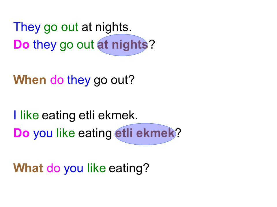 They go out at nights. Do they go out at nights When do they go out I like eating etli ekmek. Do you like eating etli ekmek