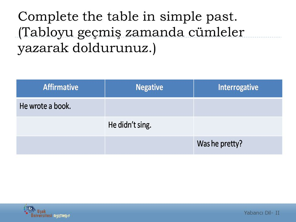 Complete the table in simple past