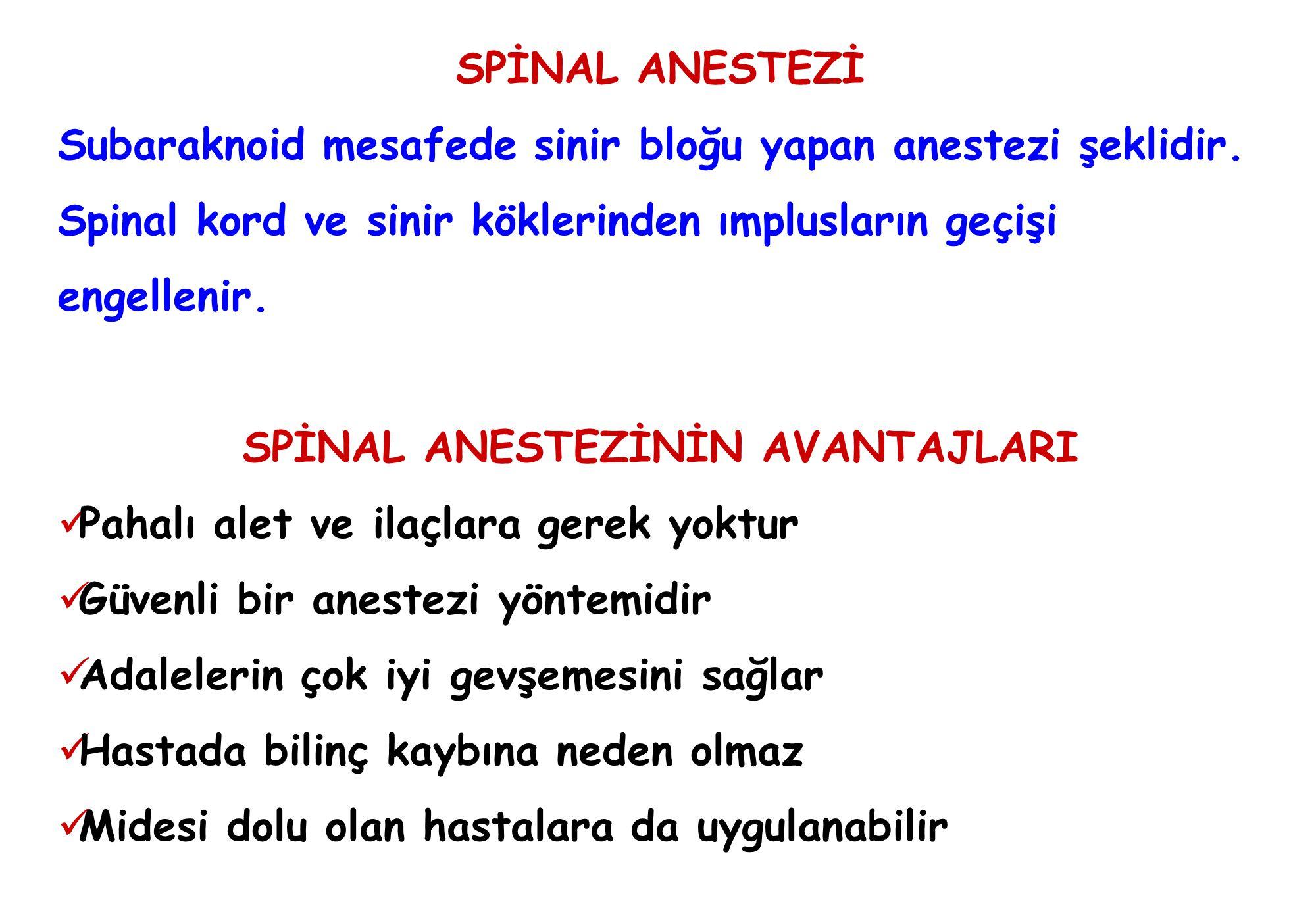 Spinal anestezi: için veya karşı