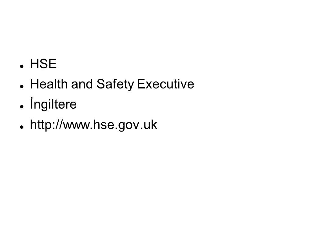 HSE Health and Safety Executive İngiltere