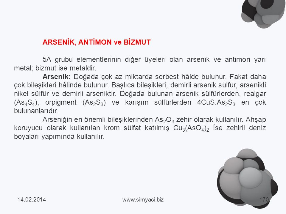 ARSENİK, ANTİMON ve BİZMUT