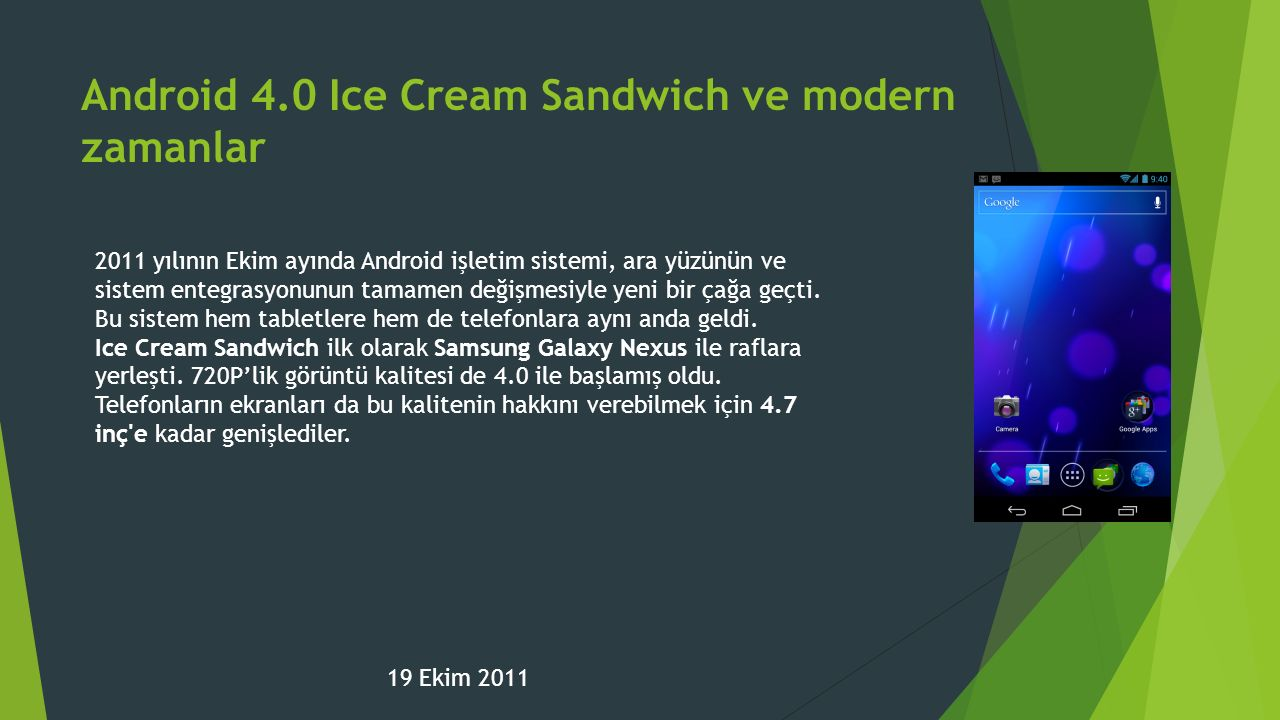Android 4.0 Ice Cream Sandwich ve modern zamanlar
