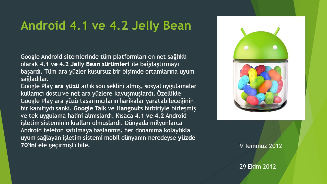 Android 4.1 ve 4.2 Jelly Bean
